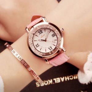Accessories - Pink leather band quartz movement metal face watch